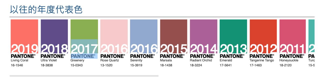 近10年Pantone代表色
